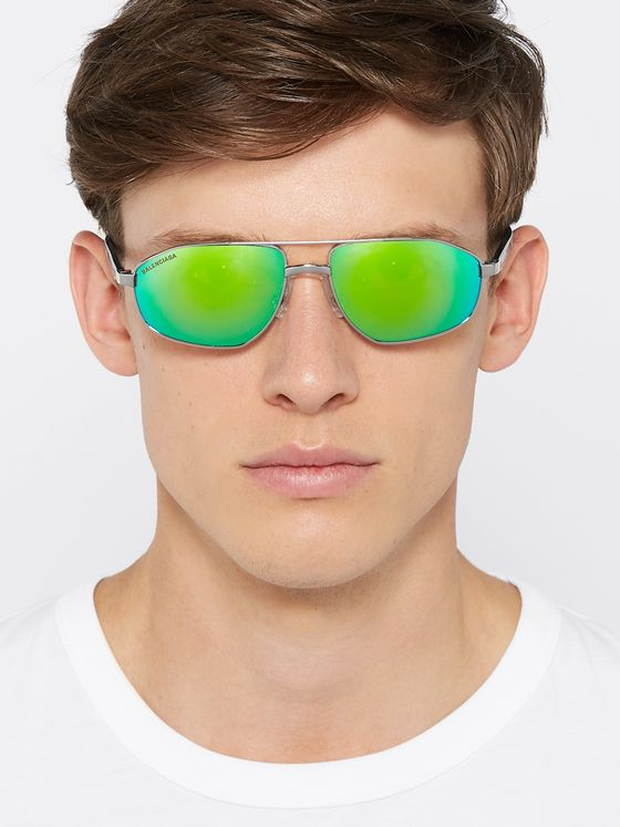Balenciaga Aviator-Style Silver-Tone and Acetate Mirrored Sunglasses
