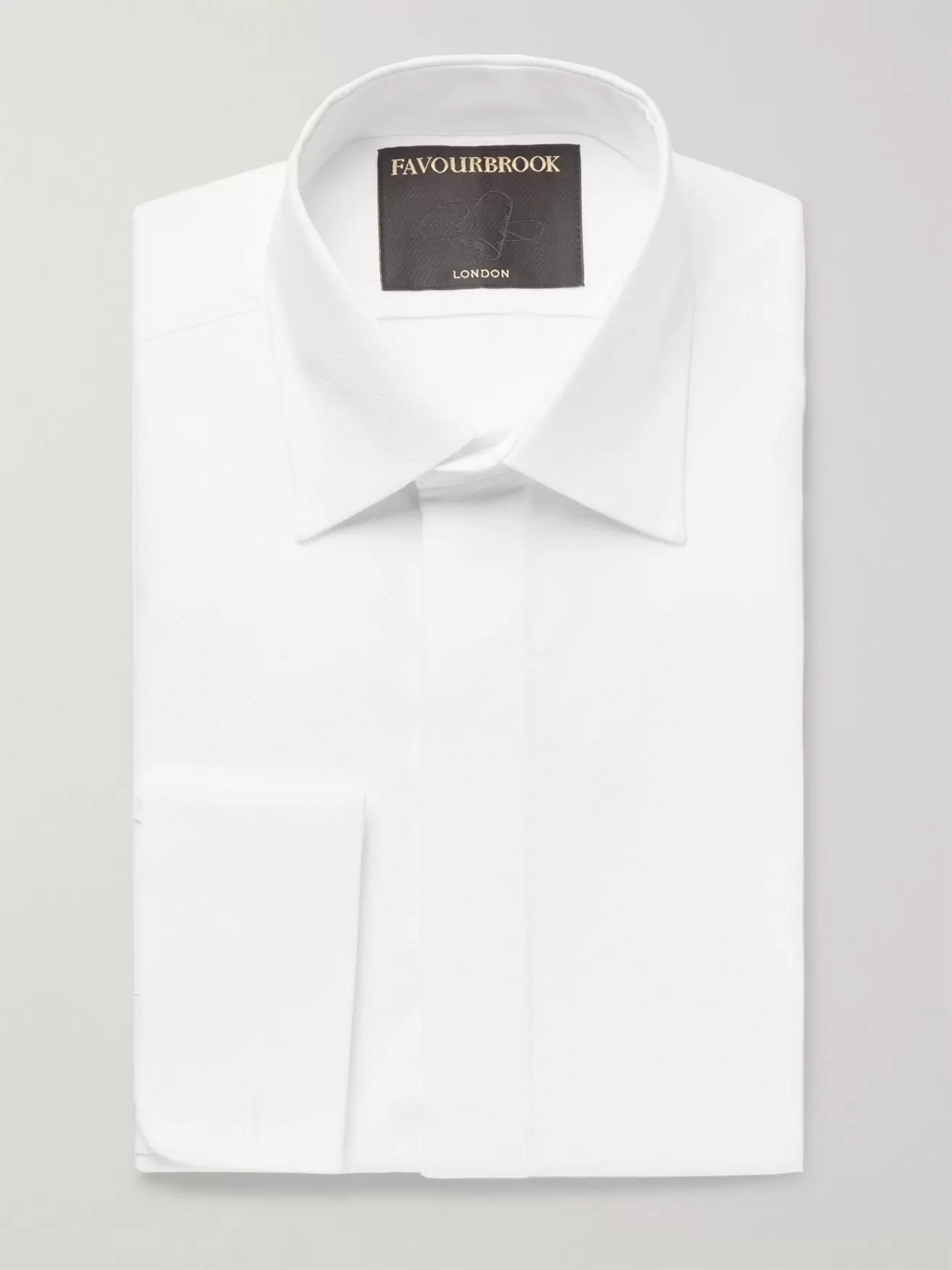 Favourbrook White Slim-Fit Bib-Front Double-Cuff Cotton Tuxedo Shirt