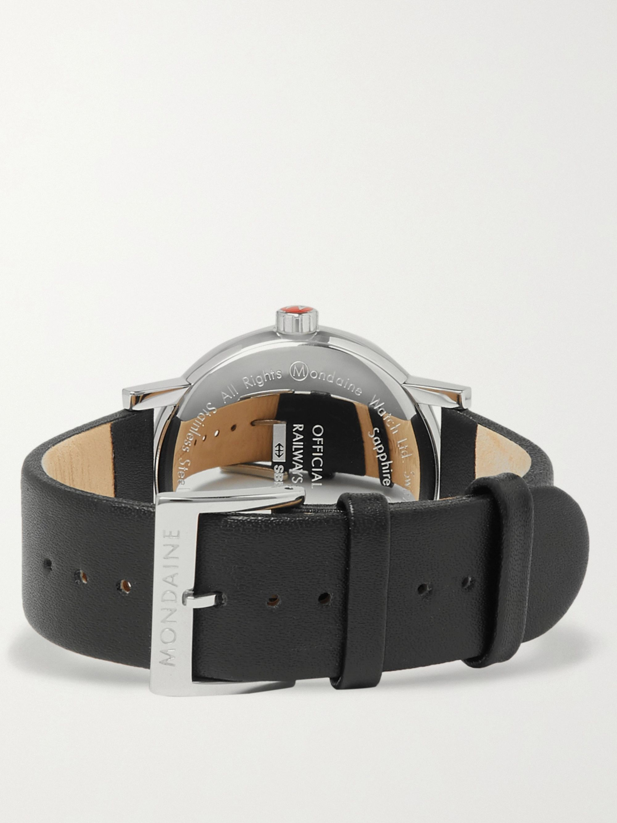 Mondaine Evo2 Stainless Steel and Leather Chronograph Watch