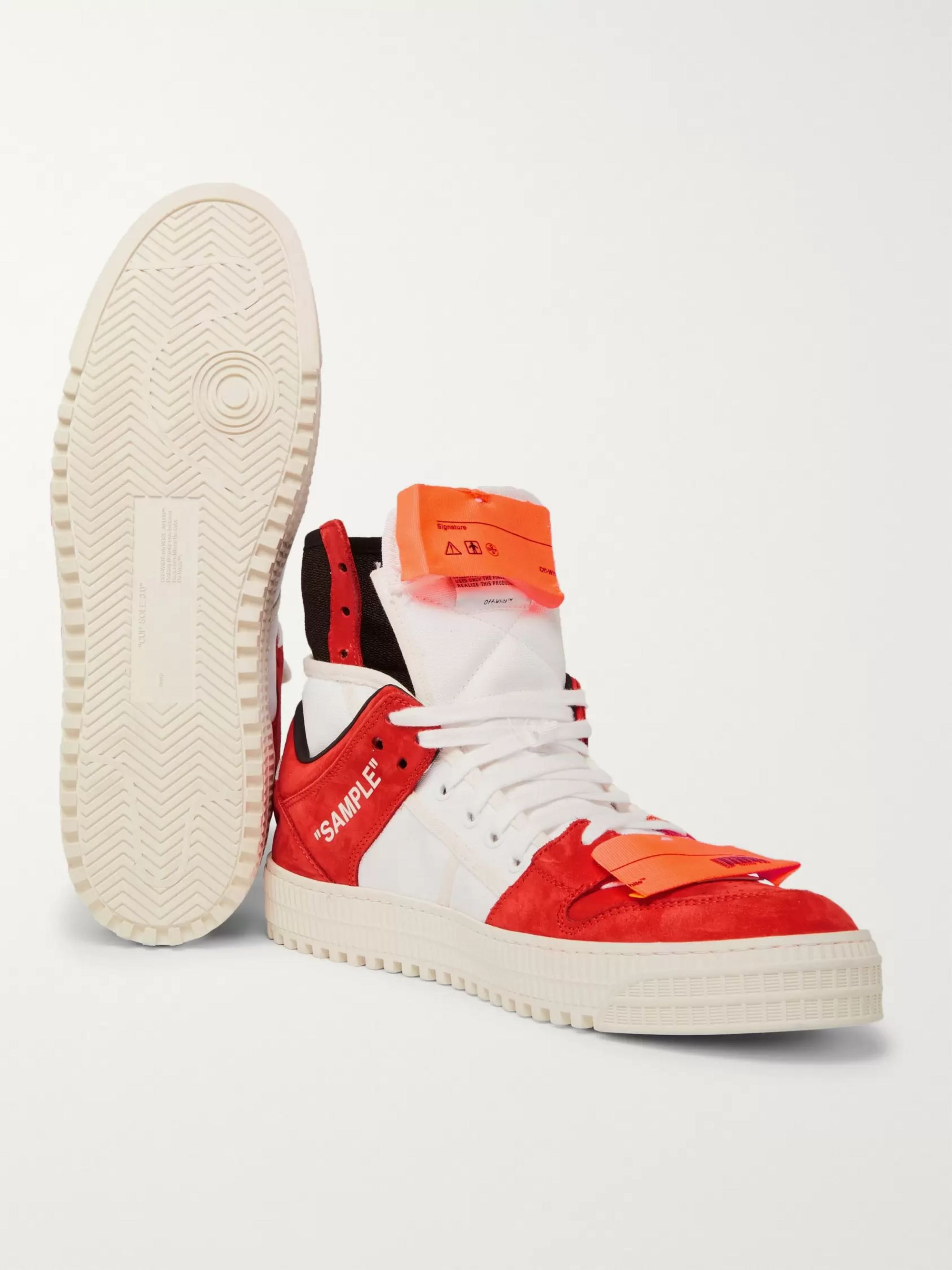 Off-White Off-Court Nubuck and Canvas High-Top Sneakers