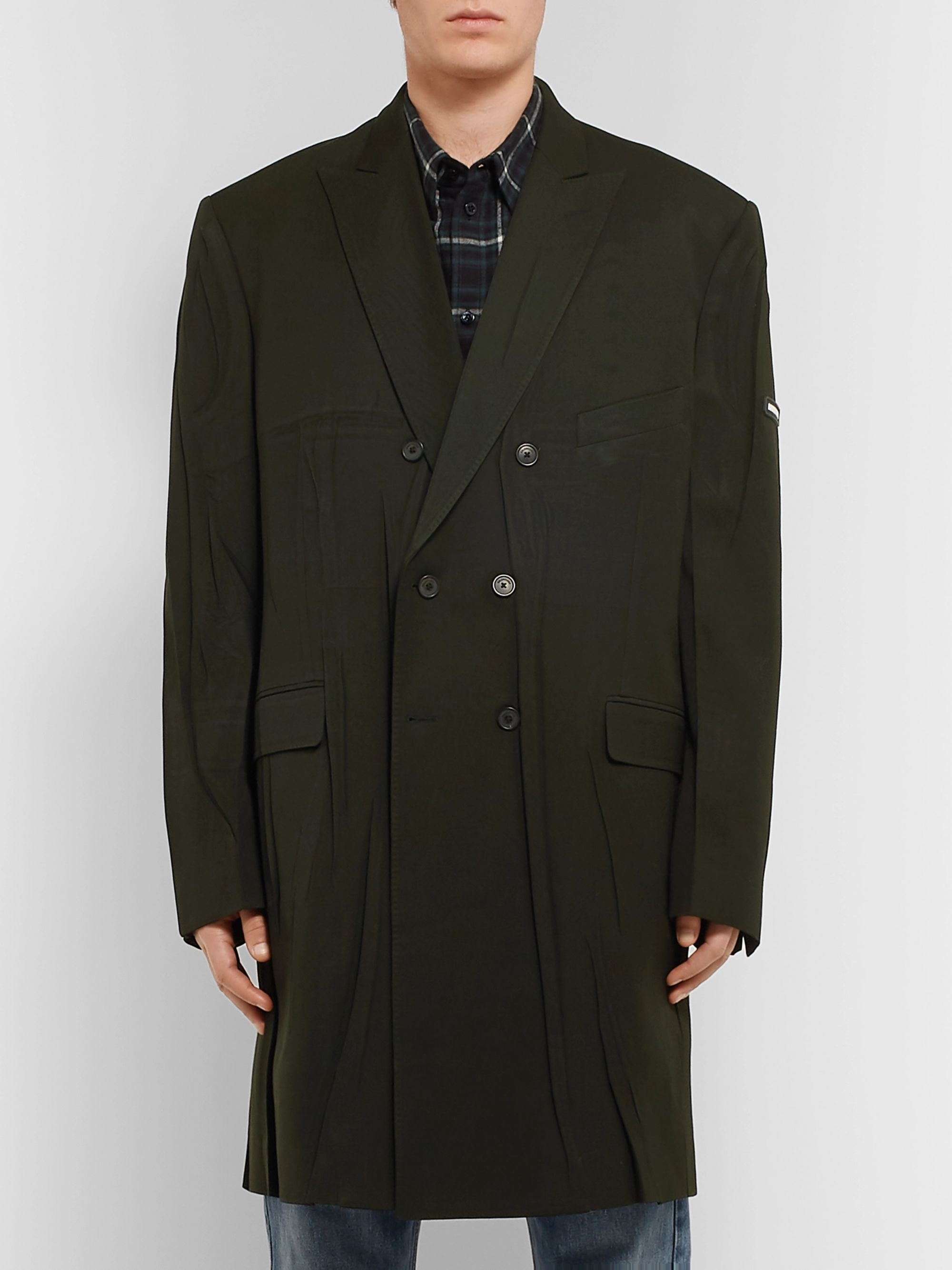 Balenciaga Double-Breasted Creased Wool-Blend Twill Coat