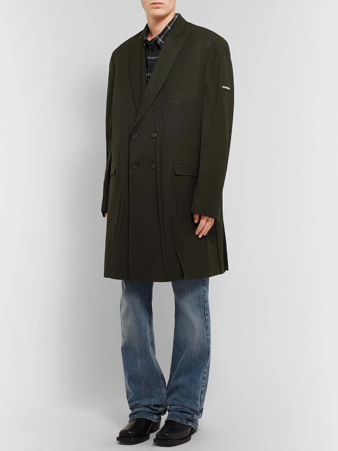 Balenciaga Coats DOUBLE-BREASTED CREASED WOOL-BLEND TWILL COAT