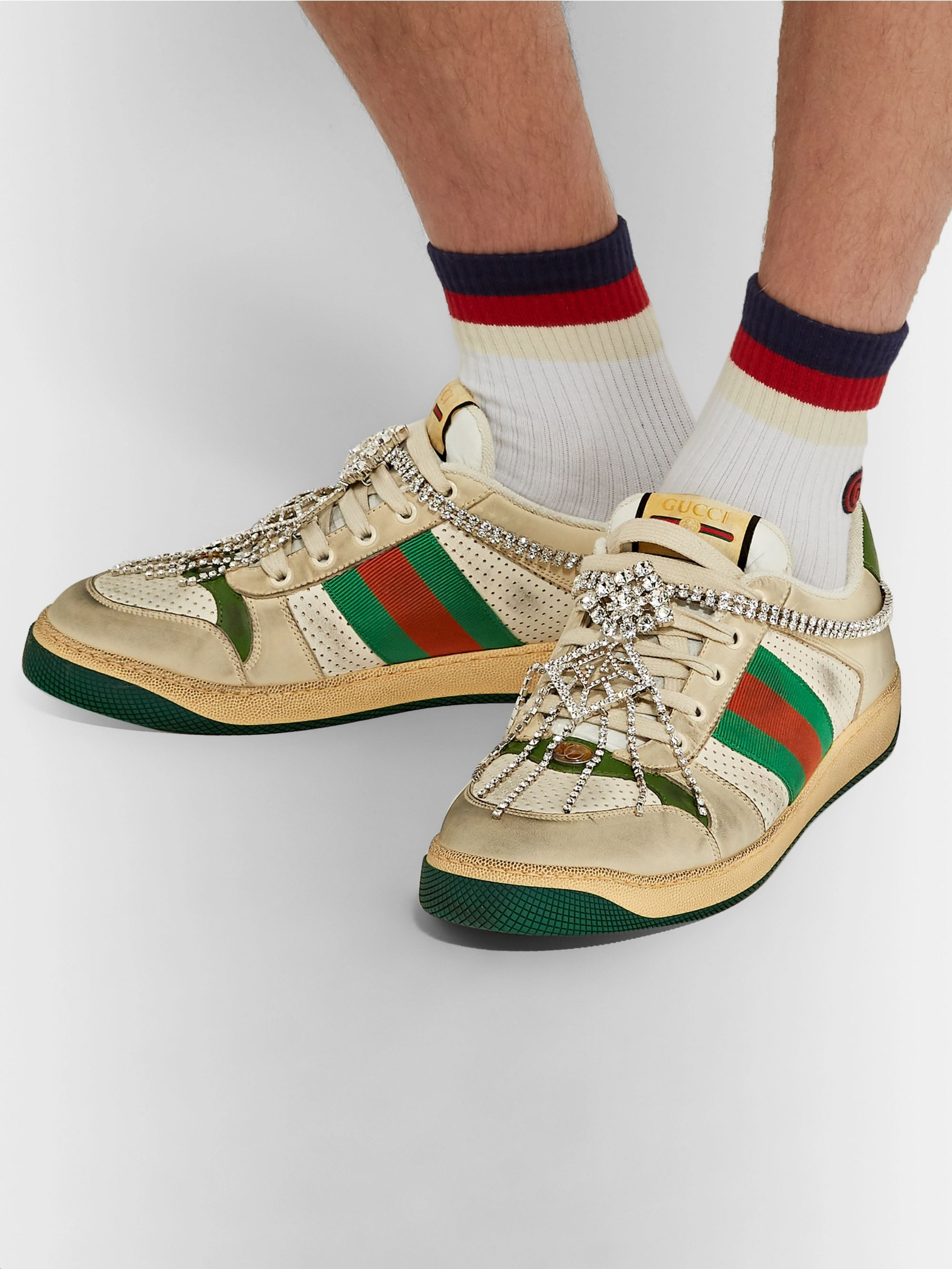 Gucci Virtus Distressed Crystal-Embellished Leather and Webbing Sneakers