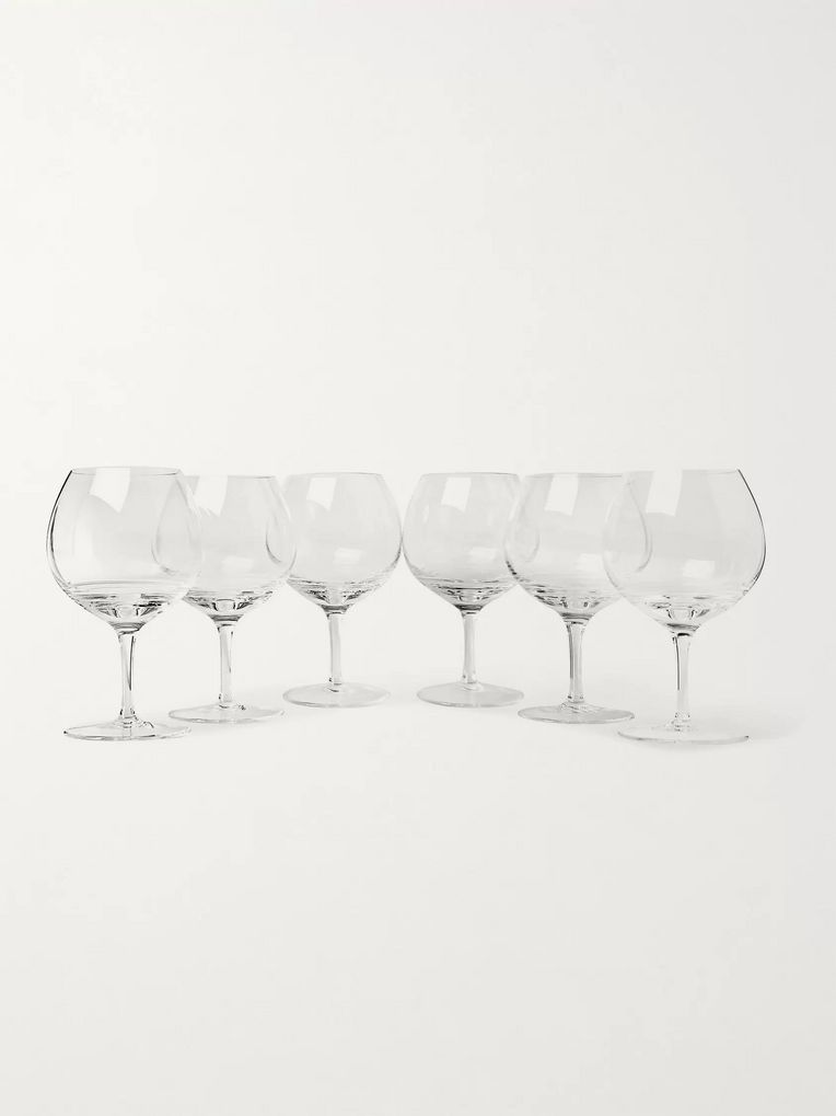 The Wolseley Collection Set of Six Bevelled Red Wine Glasses