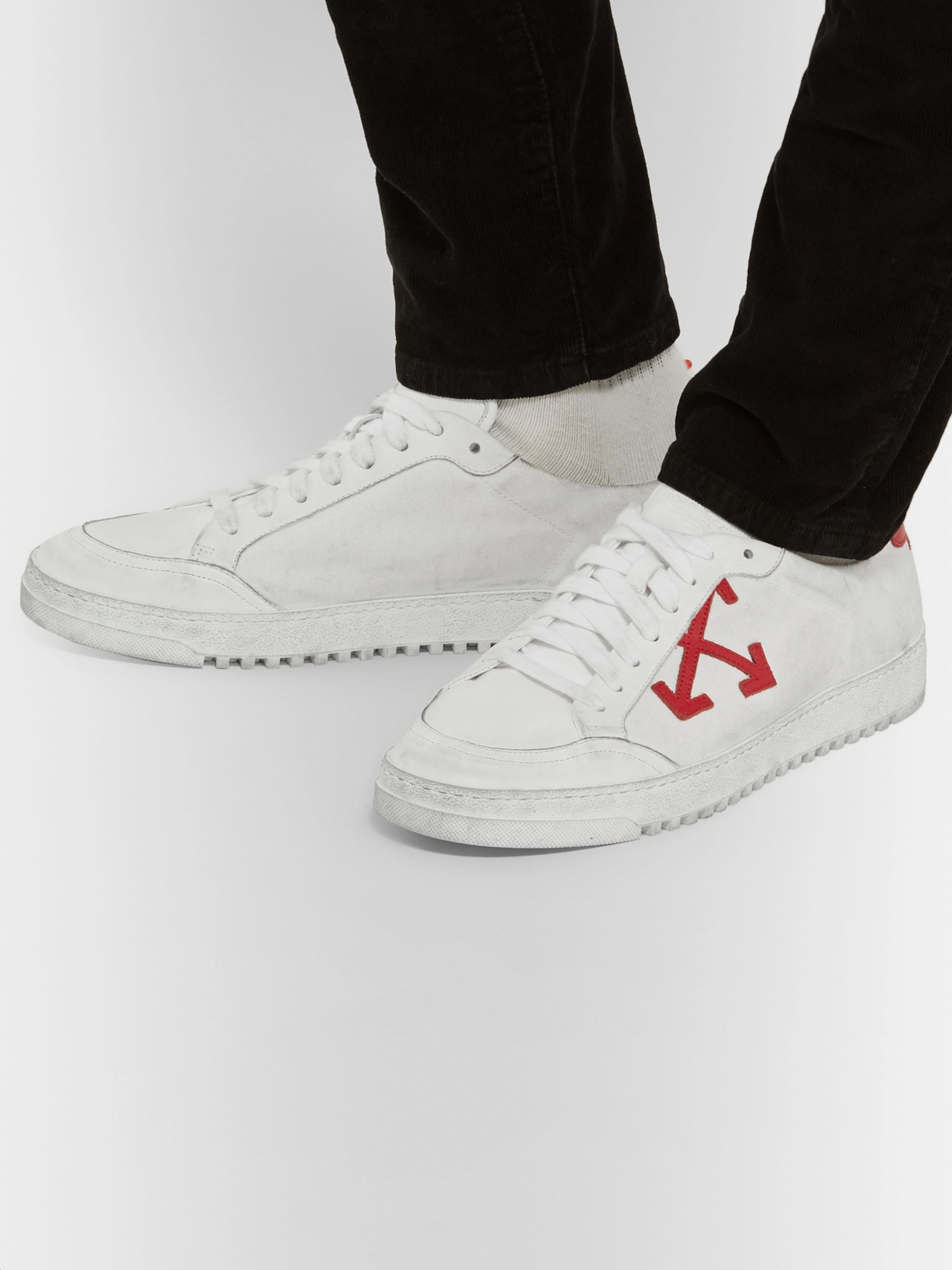 3.0 Polo Distressed Leather Trimmed Twill Sneakers