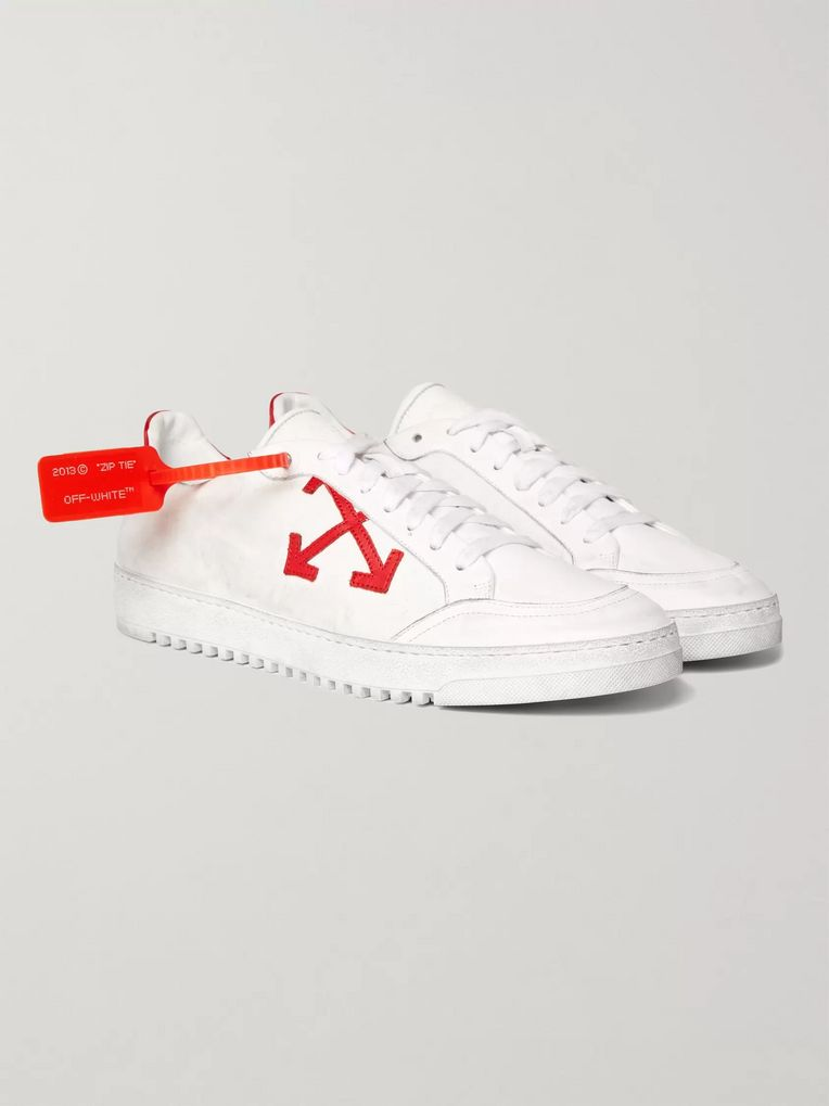 Off-White 3.0 Polo Distressed Leather-Trimmed Twill Sneakers