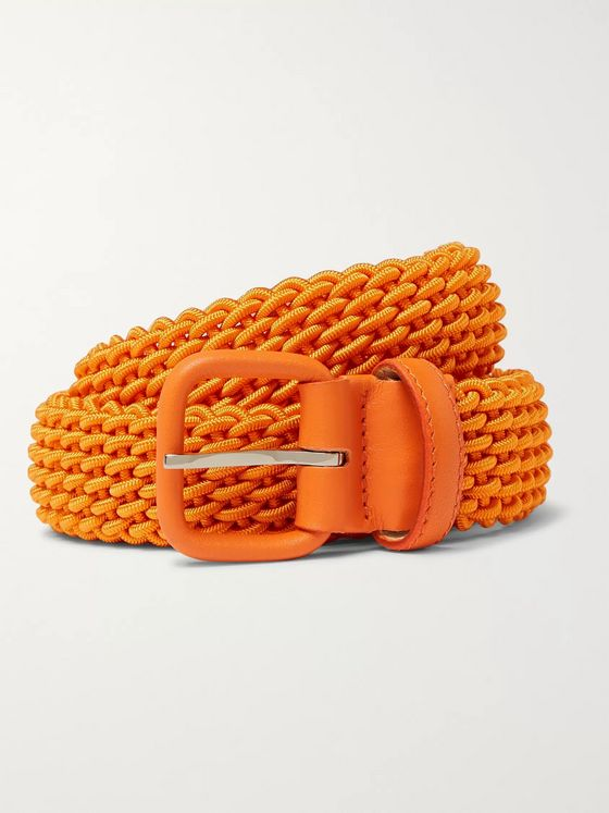 Charvet 3cm Orange Leather-Trimmed Woven Elastic Belt