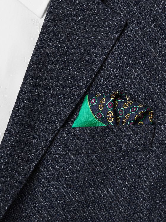 Gucci Logo-Print Silk Pocket Square