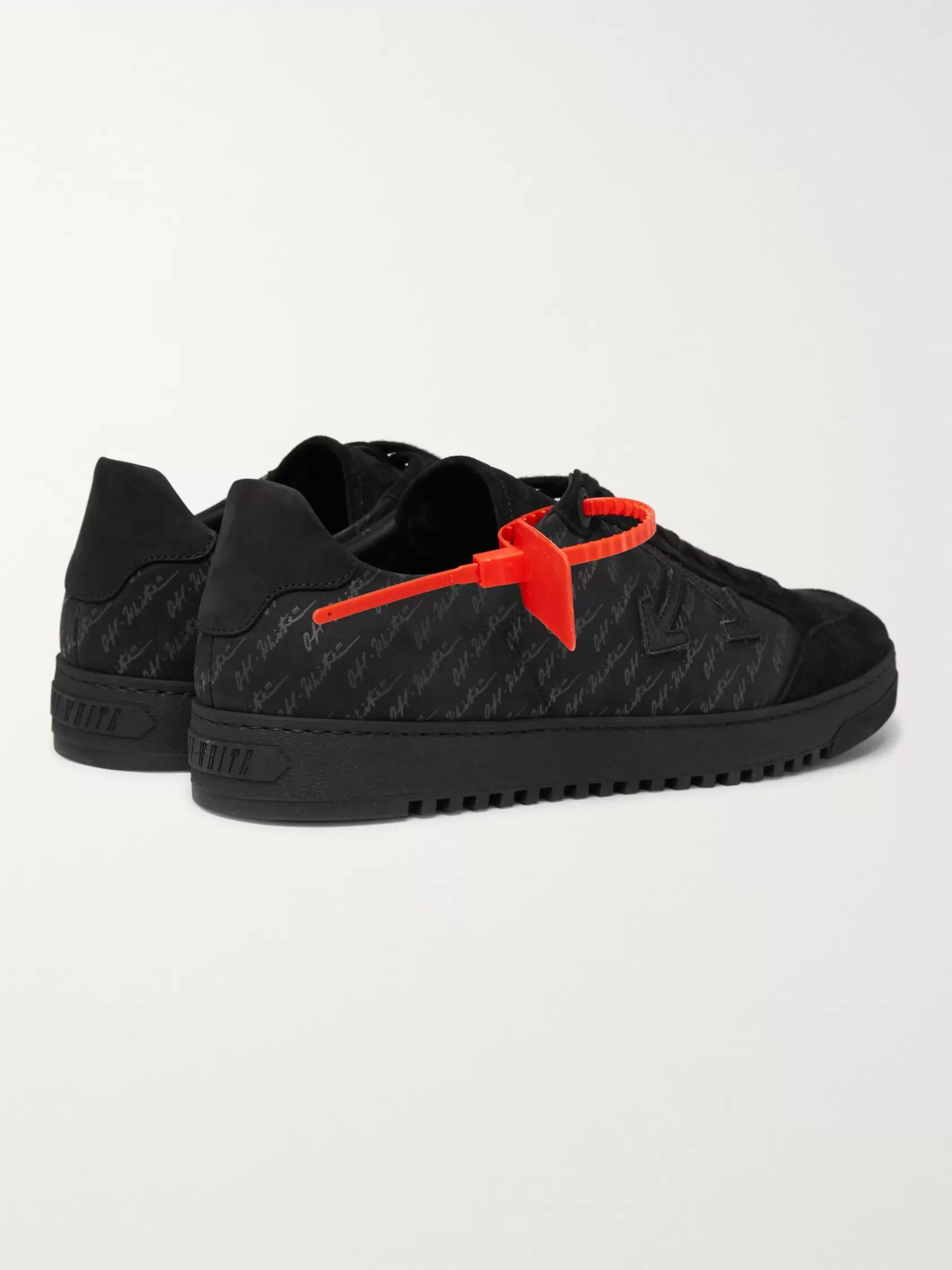 Off-White Logo-Print Suede-Trimmed Nubuck Sneakers