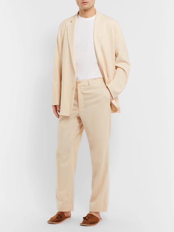 Auralee Cream Tapered Wool-Twill Suit Trousers
