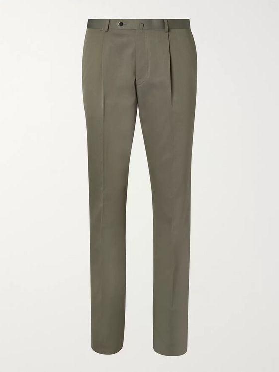 Beams F Army-Green Slim-Fit Pleated Cotton-Twill Suit Trousers