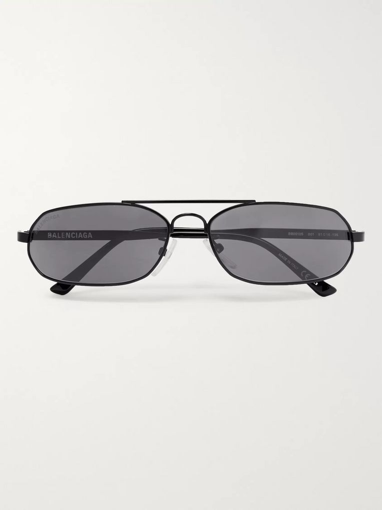 Balenciaga Oval-Frame Metal Sunglasses
