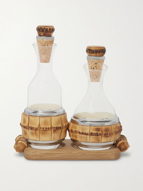 LORENZI MILANO Bamboo and Glass Table Pourer Set