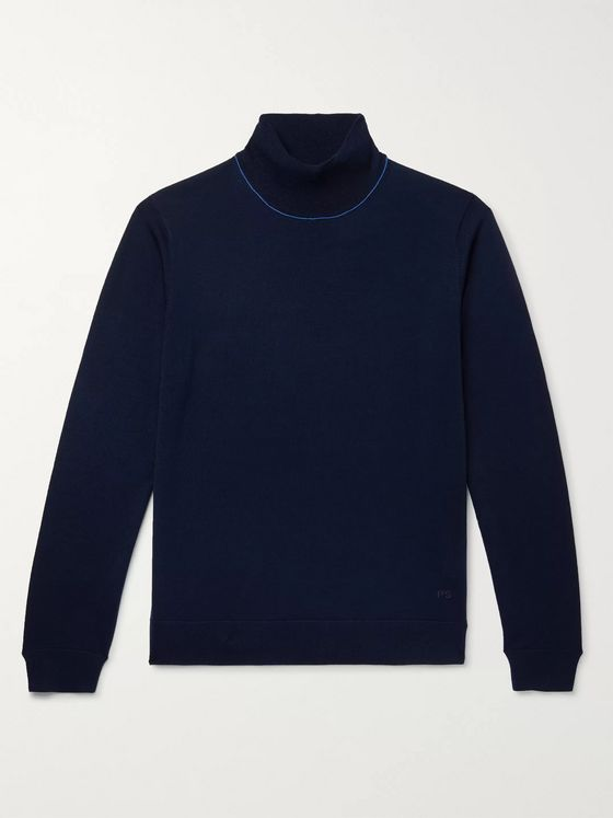 PS Paul Smith Slim-Fit Contrast-Tipped Merino Wool Rollneck Sweater