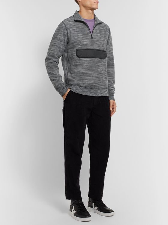 PS Paul Smith Slim-Fit Shell-Trimmed Space-Dyed Cotton-Fleece Half-Zip Sweatshirt
