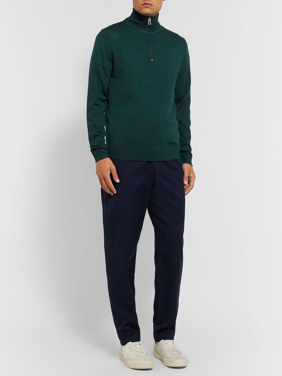 PS Paul Smith Slim-Fit Piped Merino Wool Half-Zip Sweater