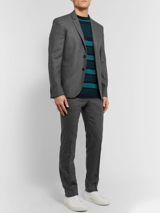 PS Paul Smith Grey Slim-Fit Mélange Wool-Flannel Suit Jacket