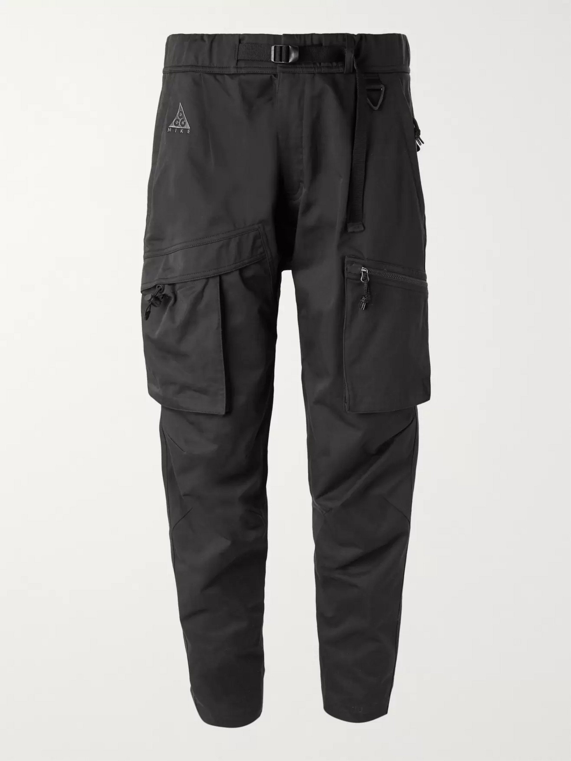 7bb0c5a173e68 Black Black ACG Tapered Cotton-Blend Twill Cargo Trousers | Nike ...