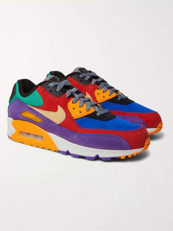 Nike Air Max 90 QS Viotech Rubber-Trimmed Suede and Mesh Sneakers