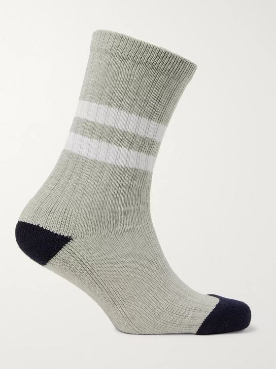 Norse Projects Bjarki Striped Mélange Stretch Cotton-Blend Socks