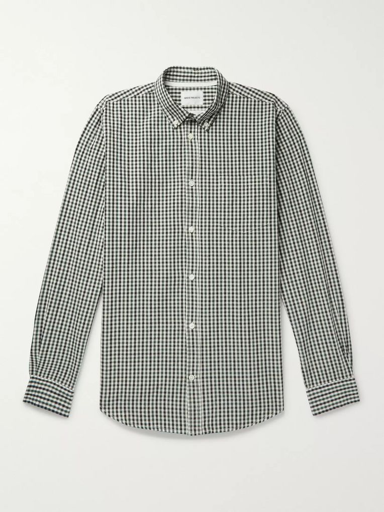 Norse Projects Osvald Button-Down Collar Gingham Cotton and Linen-Blend Shirt