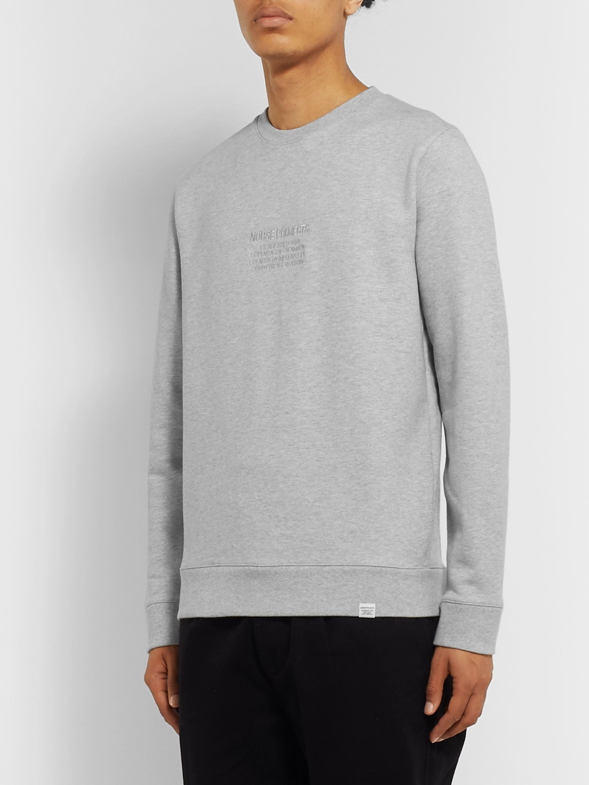 Norse Projects Vagn Logo-Embroidered Loopback Mélange Cotton-Jersey Sweatshirt