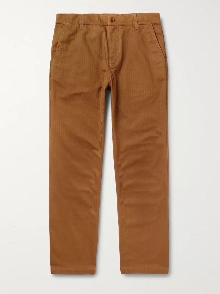 Norse Projects Josef Striped Herringbone Cotton Trousers