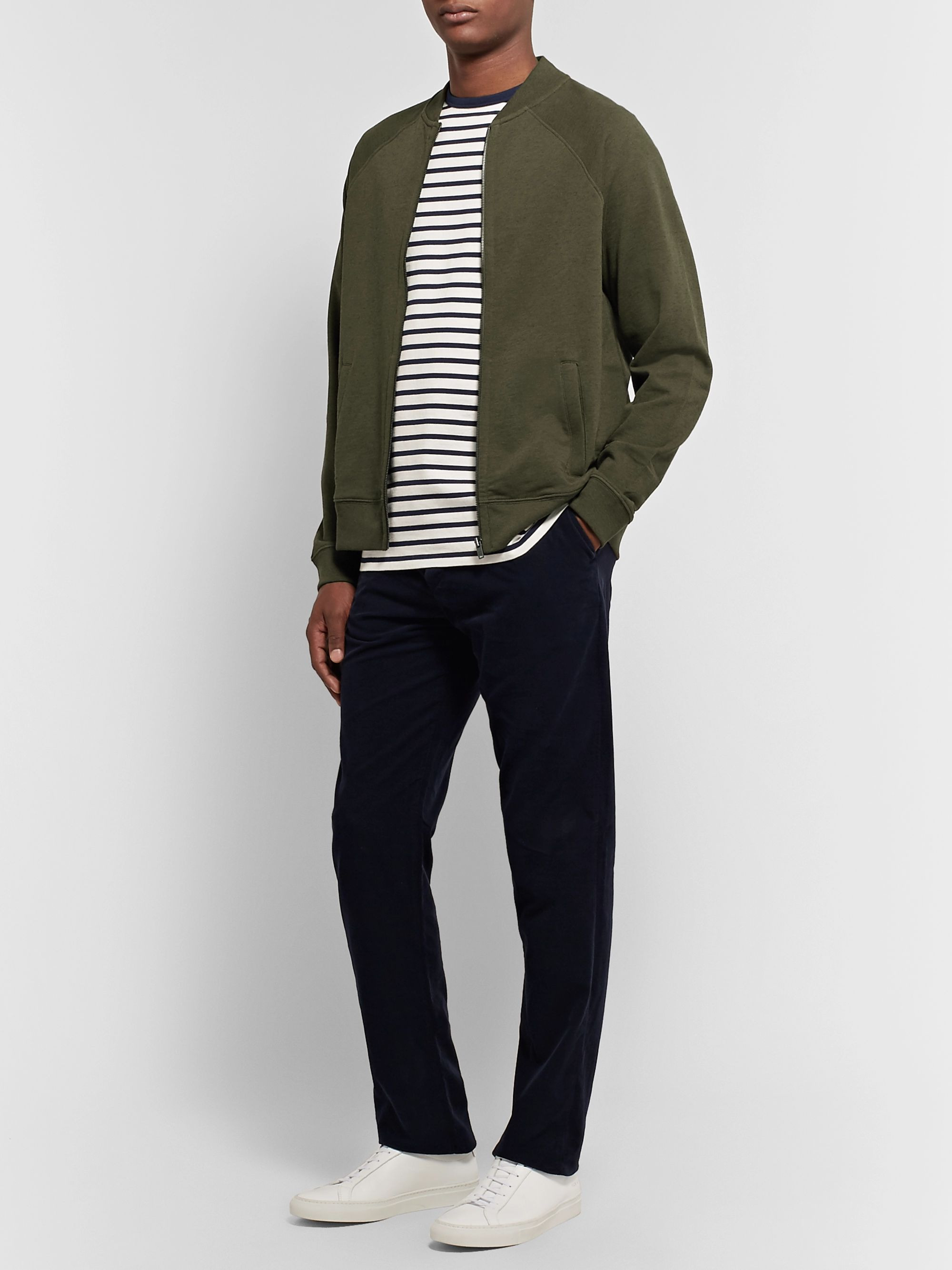 Handvaerk Loopback Pima Cotton and Alpaca-Blend Bomber Jacket