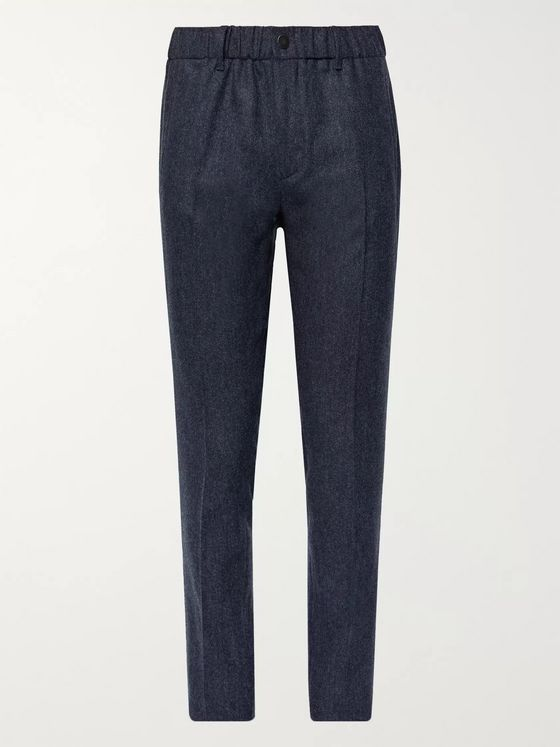 Incotex Navy Slim-Fit Mélange Stretch Virgin Wool and Cashmere-Blend Trousers