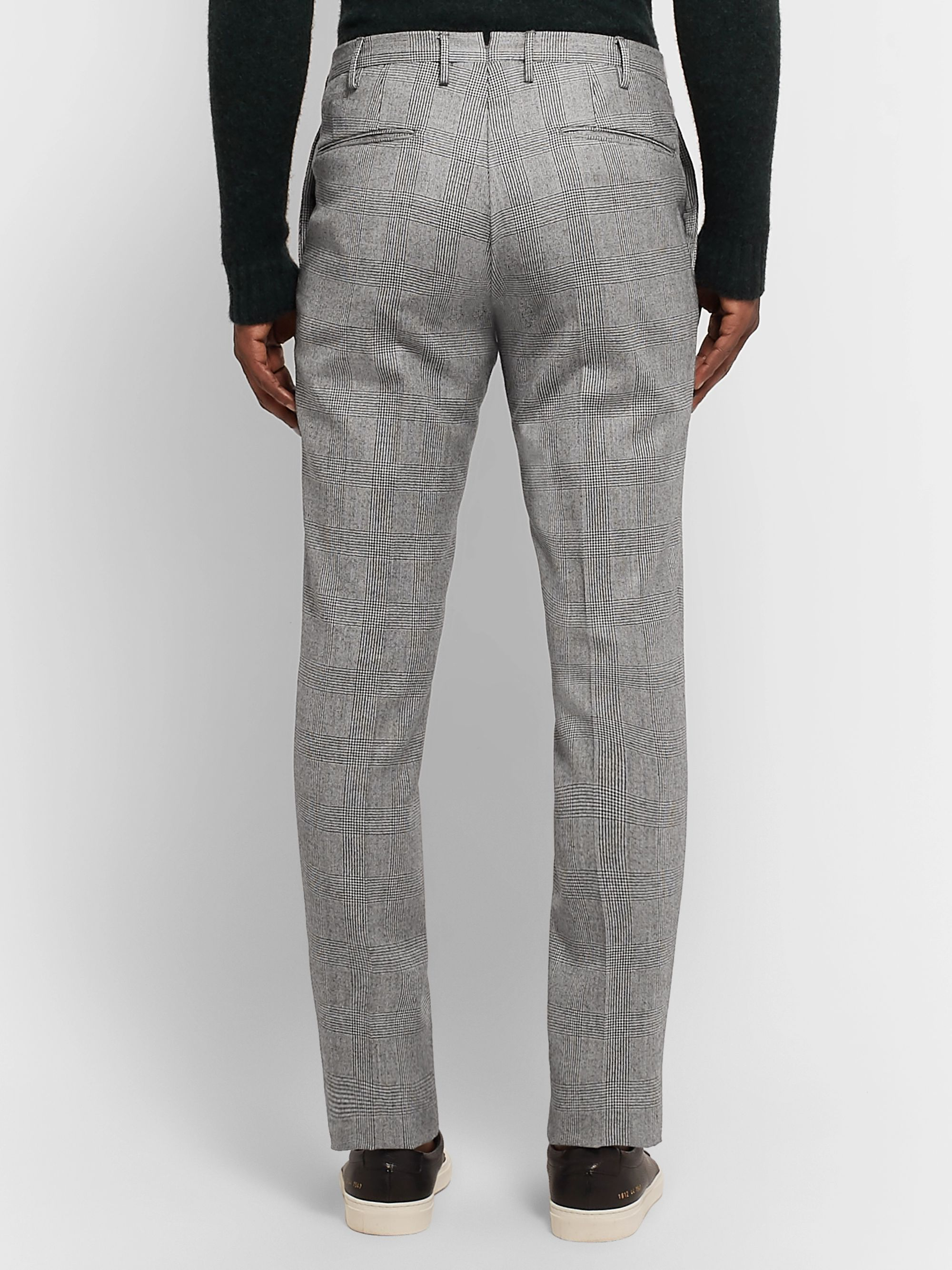 Incotex Black Slim-Fit Prince of Wales Checked Wool-Twill Trousers