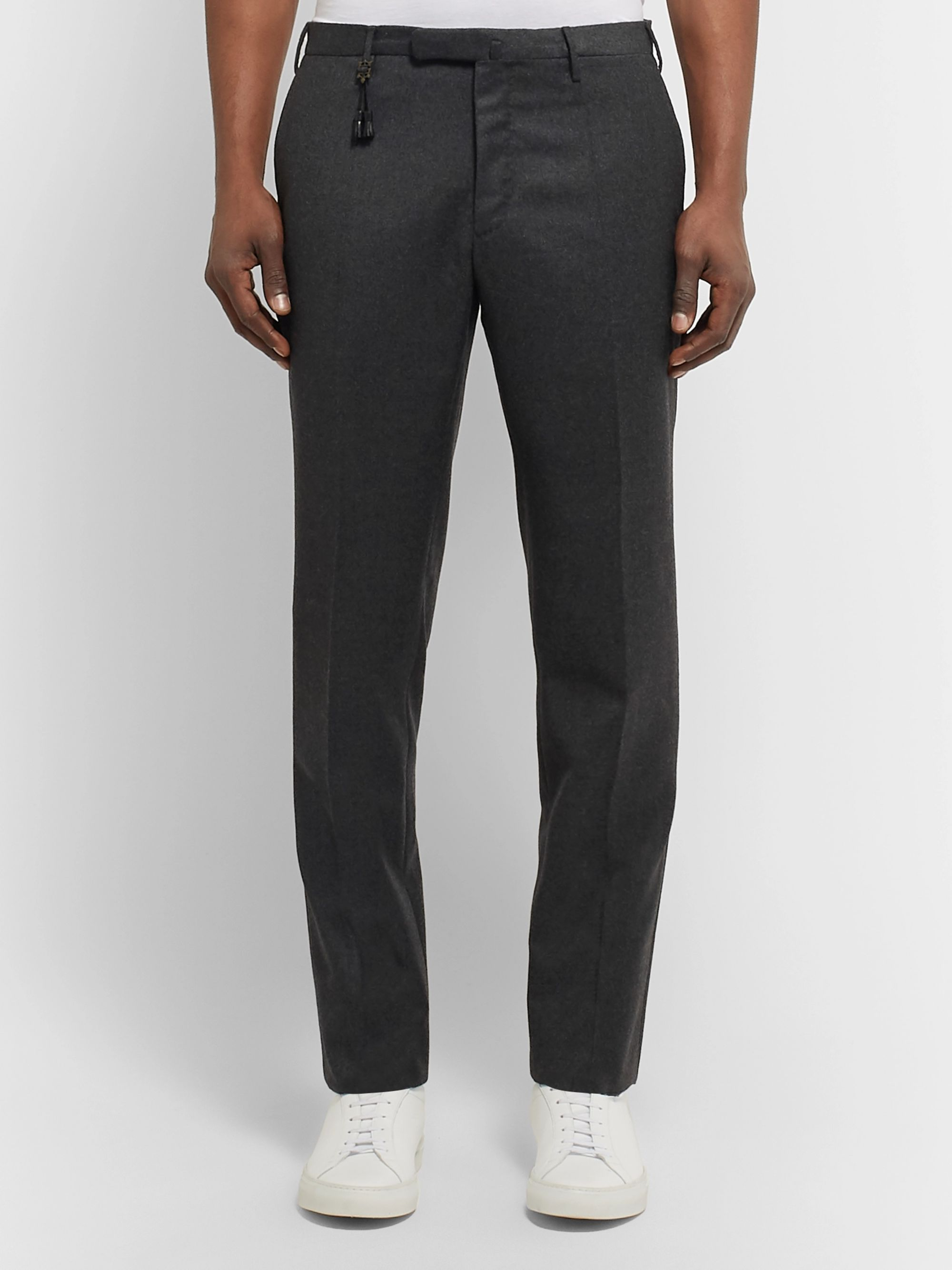 Incotex Charcoal Slim-Fit Brushed-Wool Trousers