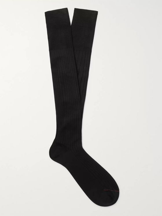 Loro Piana Ribbed Cotton Lisle Over-the-Calf Socks