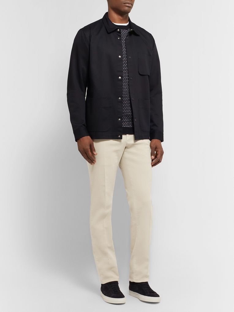 Incotex Slim-Fit Garment-Dyed Stretch-Cotton Moleskin Trousers