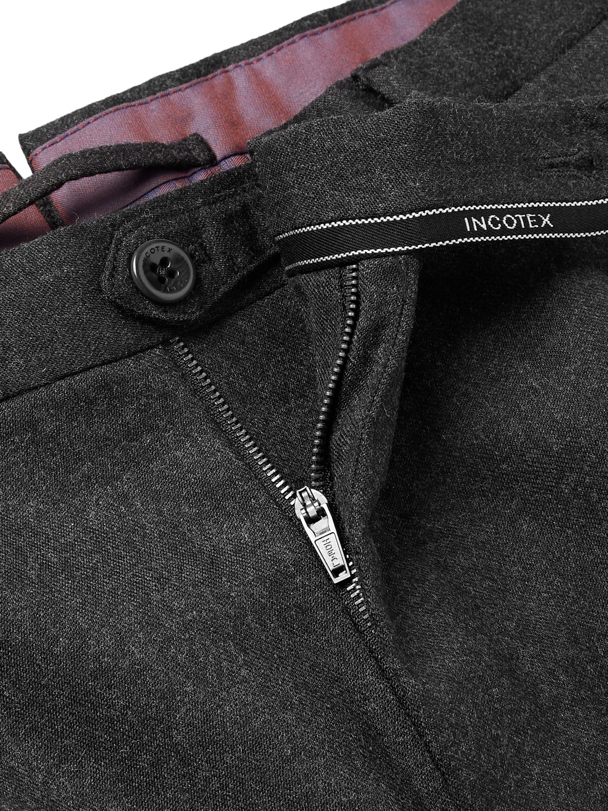 Incotex Urban Traveller Charcoal Slim-Fit Tech Wool-Blend Flannel Trousers