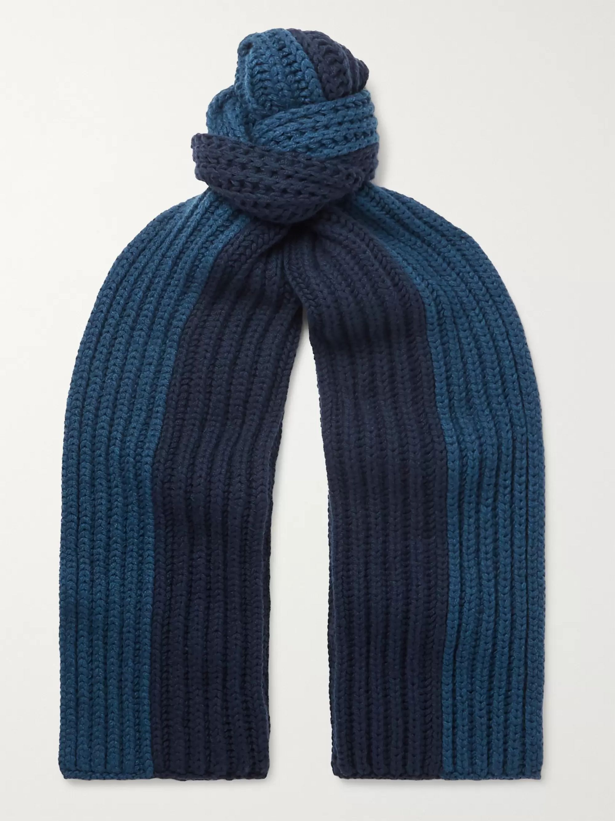 Loro Piana Colour-Block Ribbed Cashmere Scarf