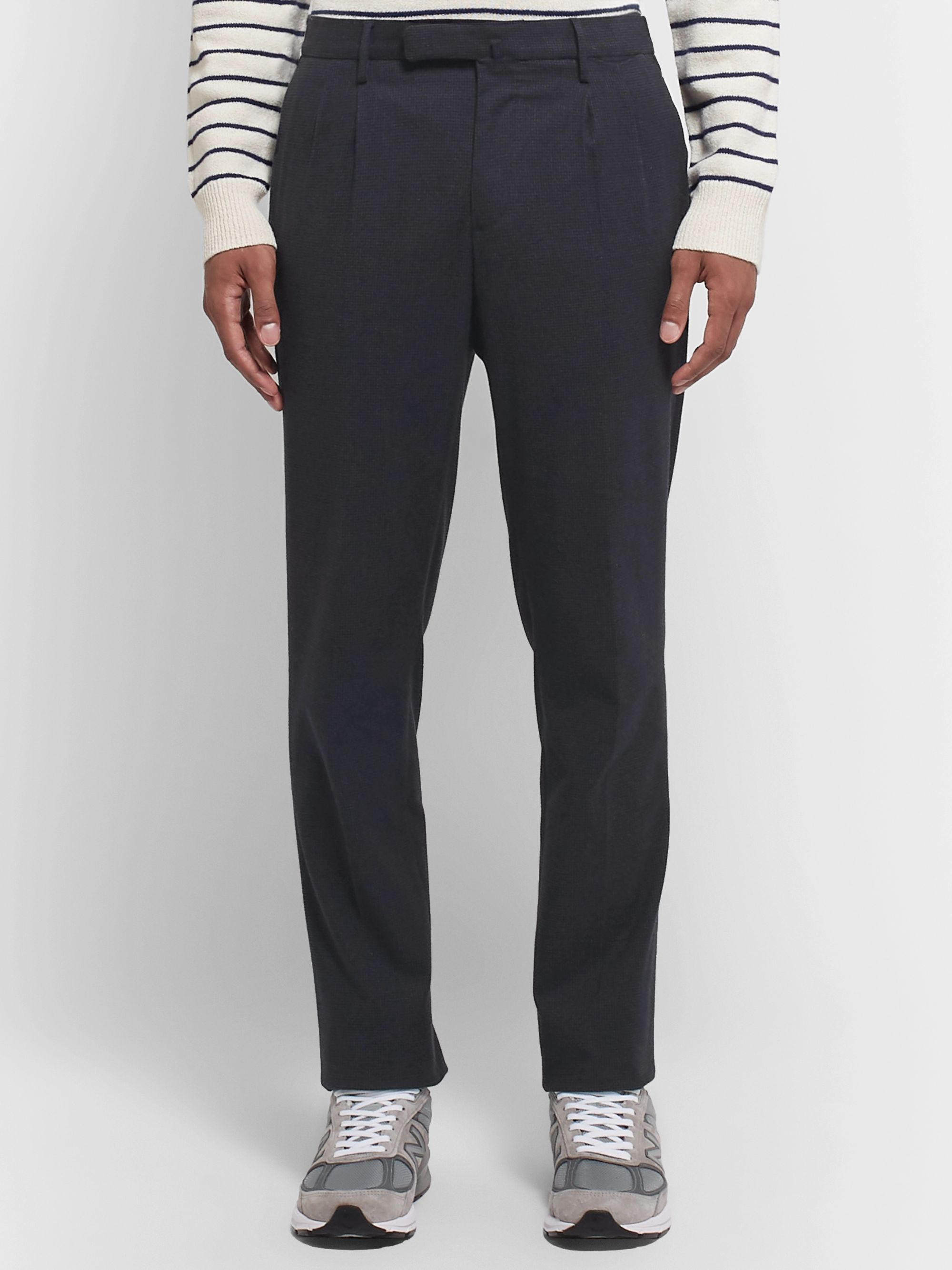 Incotex Navy Slim-Fit Puppytooth Brushed Cotton-Blend Trousers