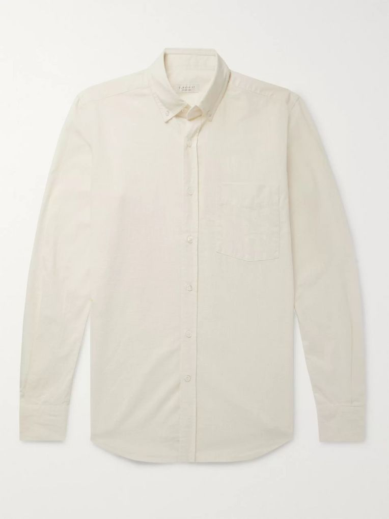 Incotex Button-Down Collar Textured-Cotton Shirt