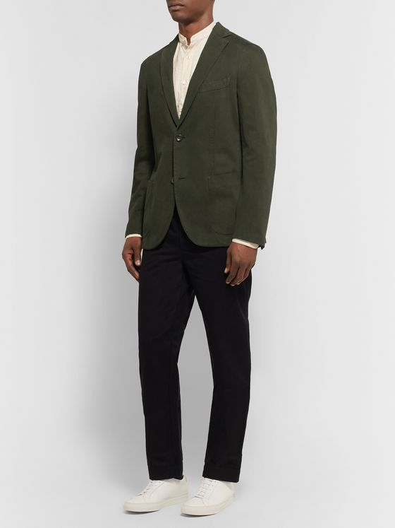 Incotex Dark-Green Garment-Dyed Cotton and Cashmere-Blend Twill Blazer