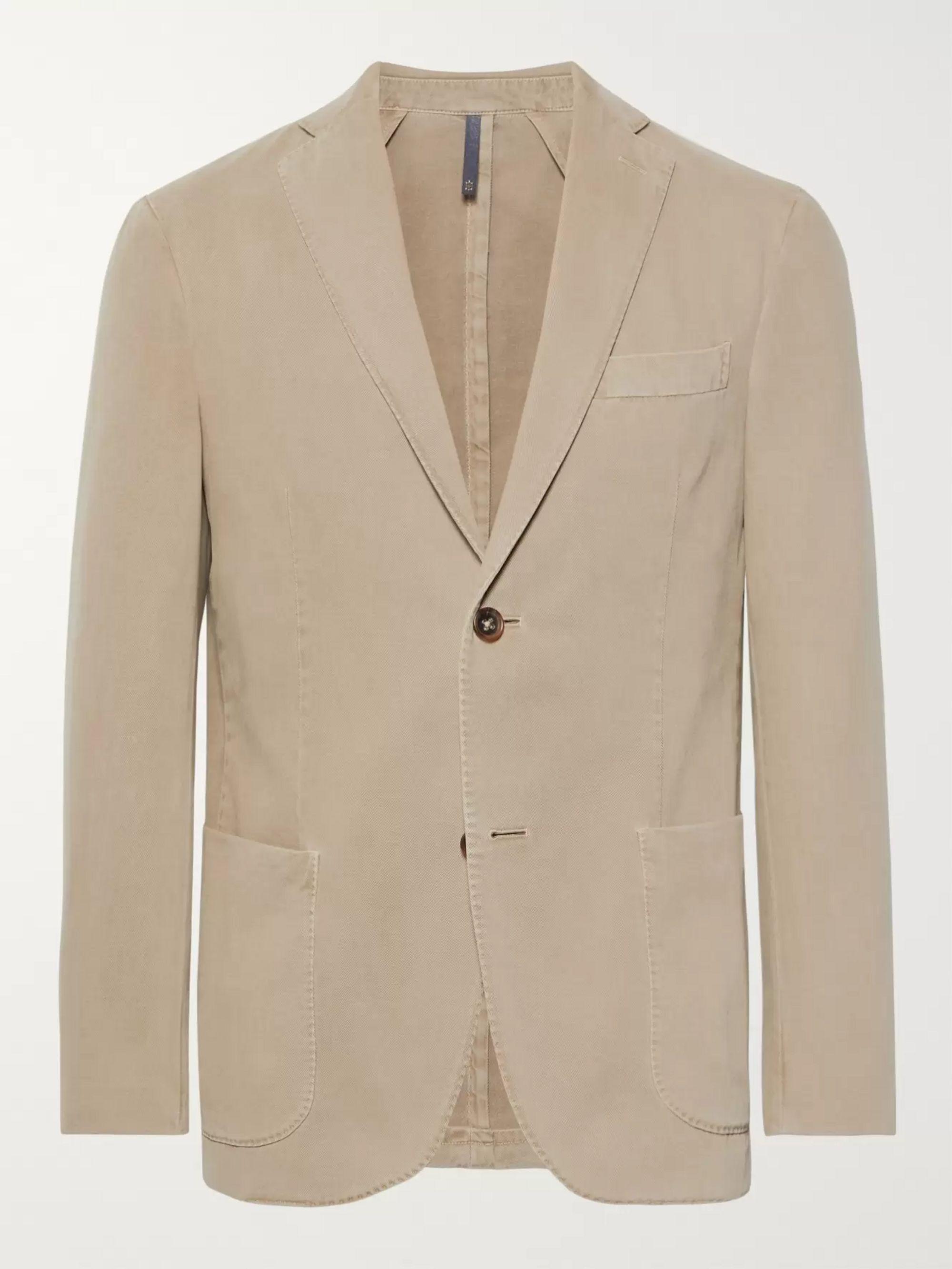 Beige Garment Dyed Cotton And Cashmere Blend Twill Blazer
