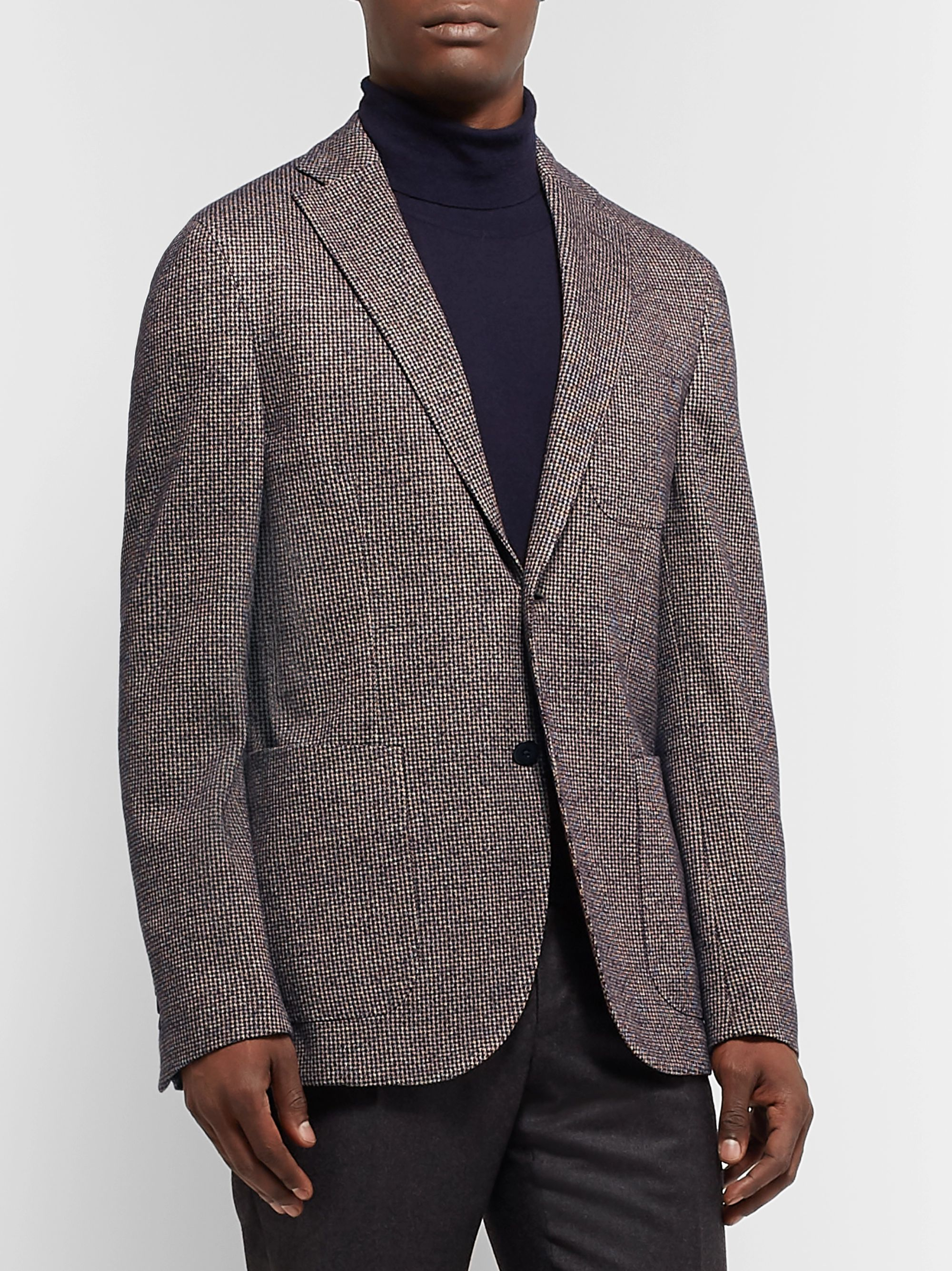 Incotex Burgundy Slim-Fit Unstructured Puppytooth Cotton and Virgin Wool-Blend Blazer