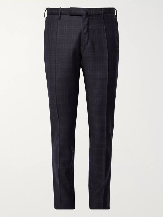 Incotex Slim-Fit Midnight-Blue Checked Super 100s Wool Trousers
