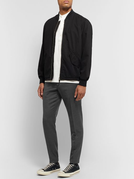 Incotex Dark-Grey Tapered Wool-Blend Trousers