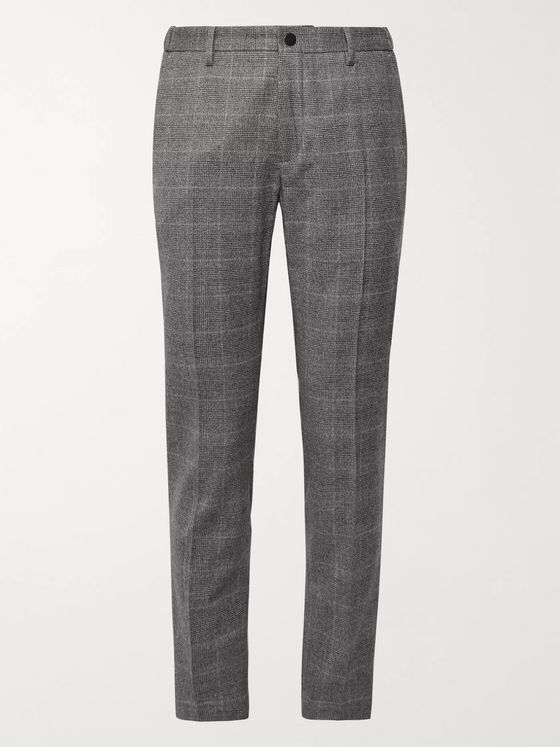 Incotex Tapered Prince of Wales Checked Virgin Wool-Blend Trousers