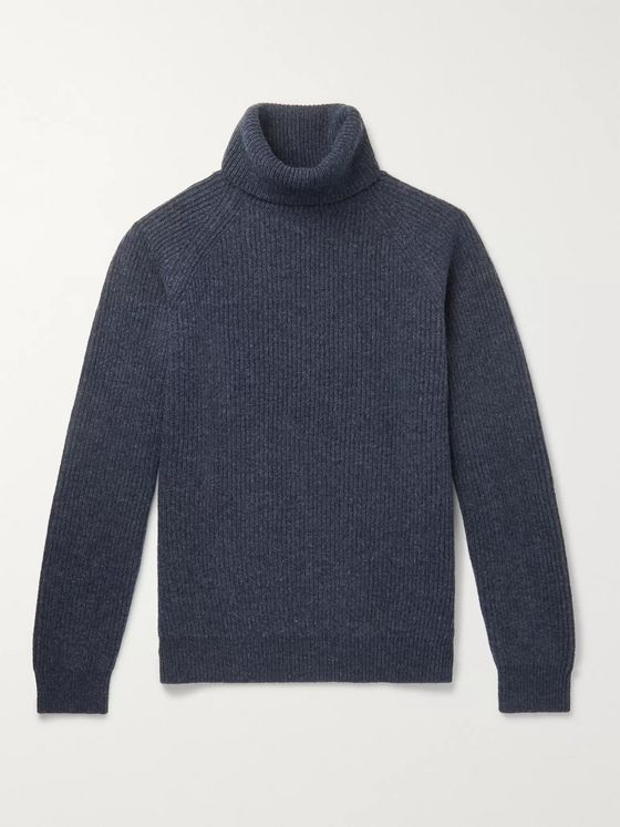 Incotex Ribbed Mélange Virgin Wool Rollneck Sweater