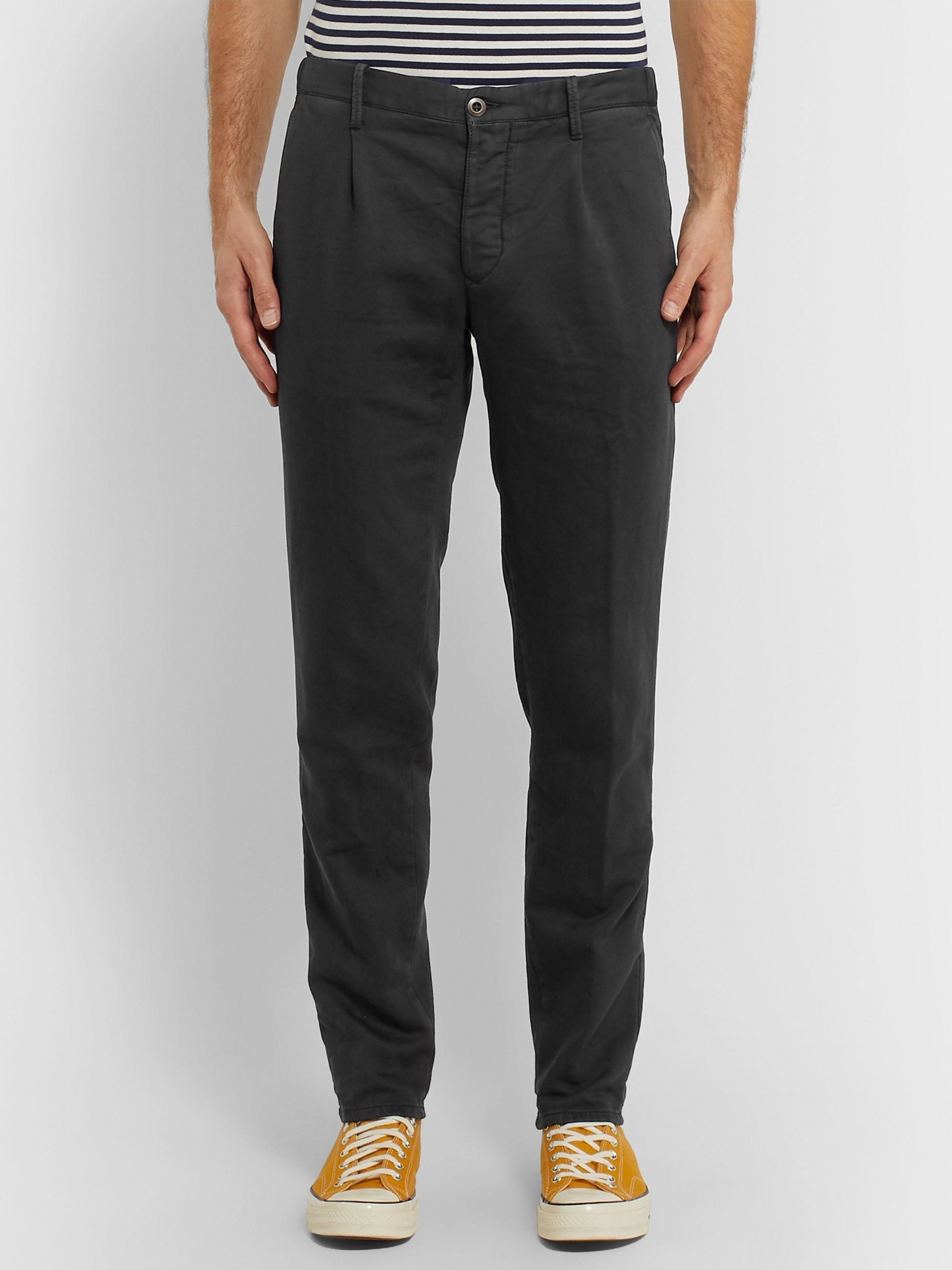 Incotex Slim-Fit Garment-Dyed Cotton-Blend Trousers