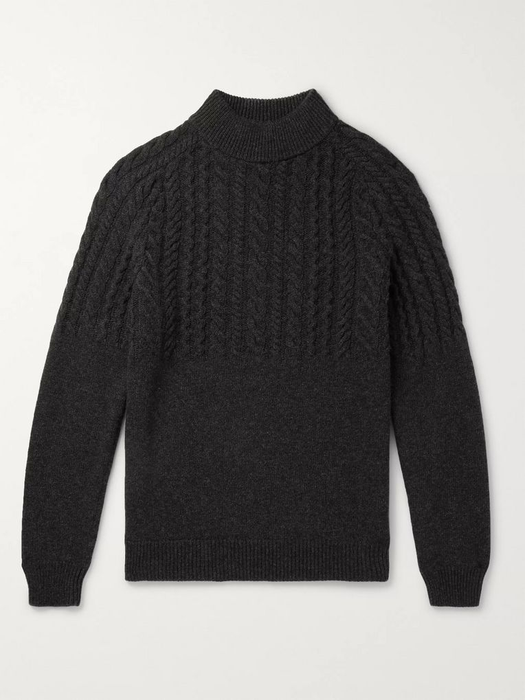 Incotex Cable-Knit Wool and Cashmere-Blend Mock-Neck Sweater