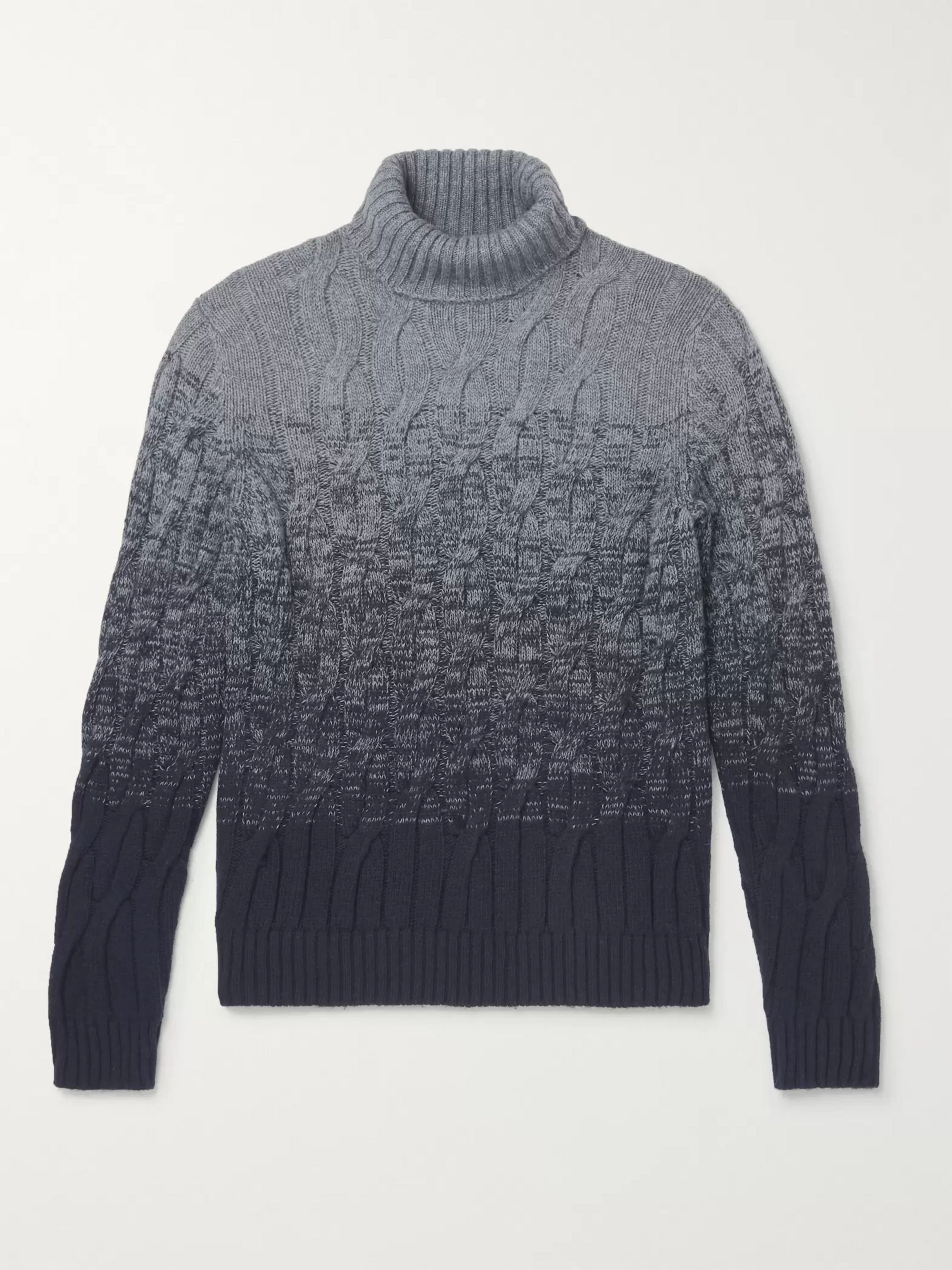 Incotex Slim-Fit Cable-Knit Ombré Virgin Wool and Cashmere-Blend Rollneck Sweater