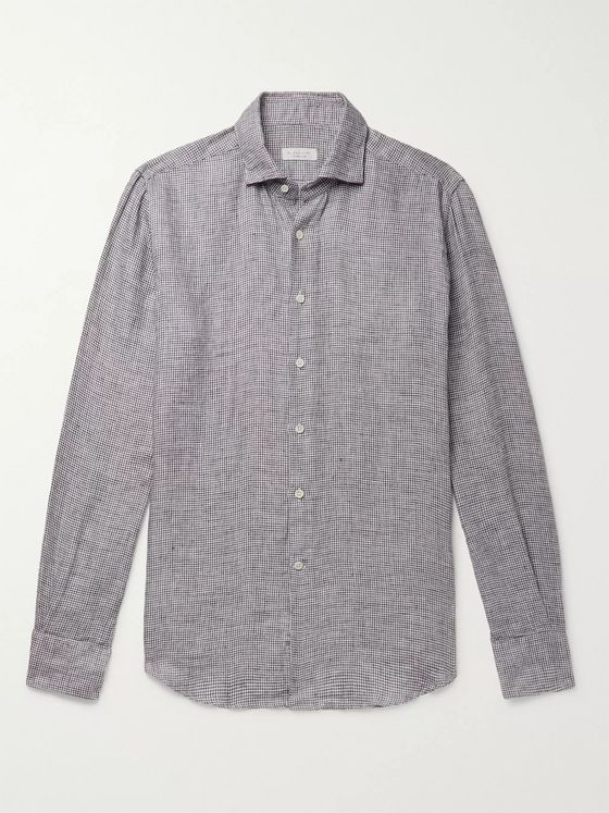 Incotex Grey Slim-Fit Puppytooth Brushed-Linen Shirt