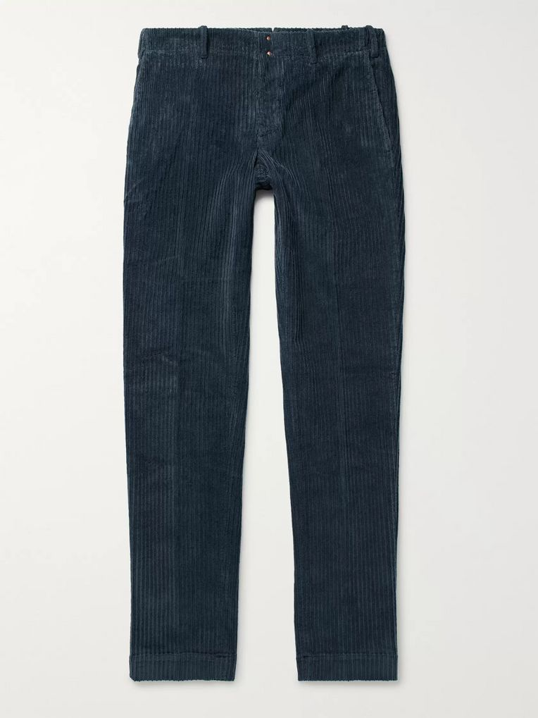 Incotex Storm-Blue Slim-Fit Stretch-Cotton Corduroy Trousers