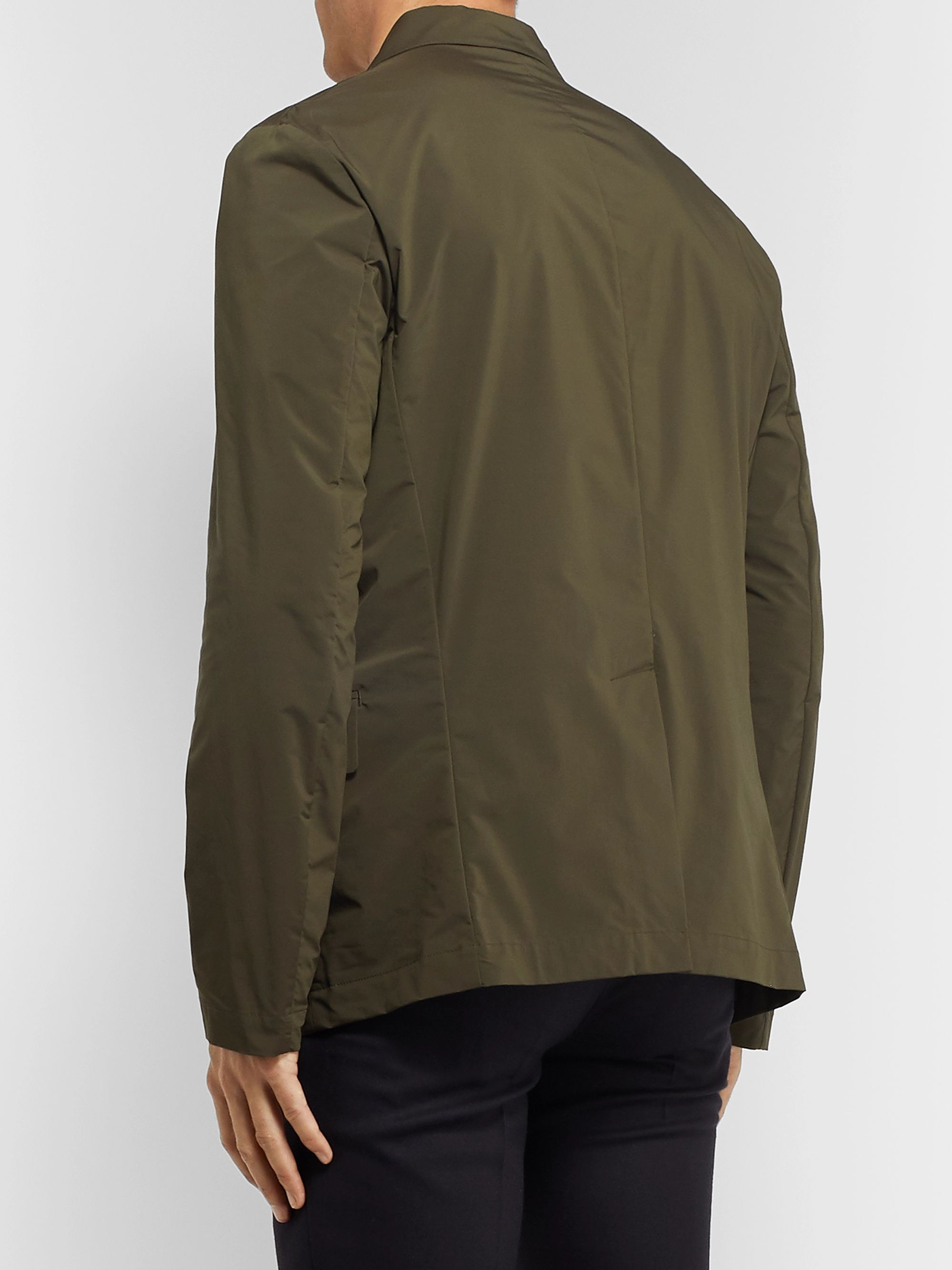 Incotex Army-Green Unstructured Shell Blazer